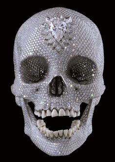 """""""For the Love of God"""", a sculpture by artist Damien Hirst, is a platinum cast of a human skull encrusted with flawless diamonds. Damien Hirst, Memento Mori, Diamond Skull, Human Skull, Poster S, 3d Prints, Most Expensive, Crystal Skull, Art Moderne"""