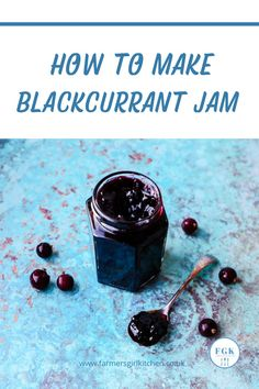 Blackcurrant Jam is one of the easiest jams you can make. Blackcurrants are naturally high in pectin which is the agent required to make the jam set. You don't need to add any additional pectin or lemon juice in this recipe, just blackcurrants, water, and sugar #blackcurrant #jam #recipe #easy Blackcurrant Jam Recipe, Chilli Jam, Black Currants, Jam Recipes, Recipe Using, Chutney, Preserves, Fork, Blueberry