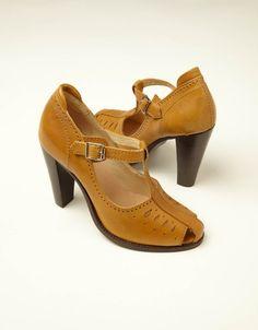 Heeled T Bar Peep Toe Shoe