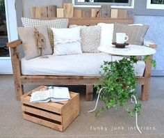 The change my mind bistro table (with pallet sofa)Funky Junk Interiors Diy Pallet Sofa, Wooden Pallet Furniture, Wood Sofa, Pallet Benches, Diy Couch, Pallet Tables, Funky Junk Interiors, Homemade Furniture, Diy Furniture