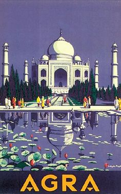 Vintage Travel Poster India - Agra, Taj Mahal