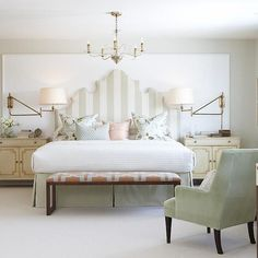 Dreamy whites & soft greens. This creamy white carpeting adds an element of softness and texture to this bedroom retreat.  A beautiful design by Sarah Richardson Design and photo HGTV Canada.