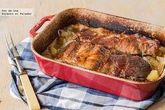 Costillar de cerdo asado con cebolla y patatas. Receta de carne al horno Fırın yemekleri Baked Meat Recipes, Potato Recipes, Pork Recipes, Meet Recipe, Pork Ribs, Cooking Time, Main Dishes, Roast, Food Porn
