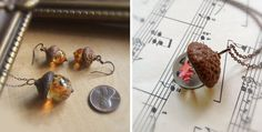 Beautiful Handmade Glass Acorn Pendants by Bullseye Beads|CutPasteStudio| Illustrations, Entertainment, beautiful,creativity, Art, Artwork,Artist, drawings, fashion, jewelry.