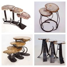 Nesting Tables from our new furniture line, are adorned with unique specimen tops of agate, ammonite and petrified wood. #home #houzz #dwell #interiordesign