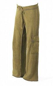 #CMI01 Minawear Mens Hemp Cargo Drawstring Pants Khaki