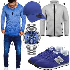 Light blue mens outfit with longsleeve, cap and watch