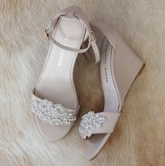 Ladies Diamond Embellished Nude Wedge shoes. by ForeverSoles                                                                                                                                                                                 More