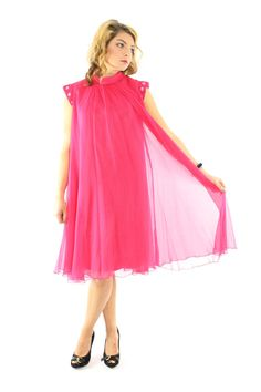 Vintage 60s Party Dress Elinor Gay Sheer Chiffon by ScarletFury