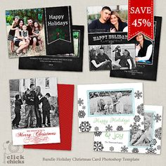 SAVE 45  Bundle Holiday Christmas Card by ClickChicksDesigns, $18.00