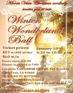 Winter Ball January 18th at Monte Vista Christian School