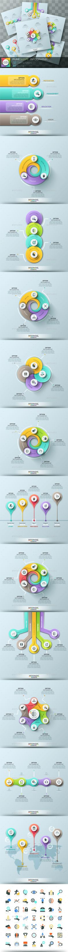 Pure Shape Infographic. Set 4 — Photoshop PSD #layout #concept • Available here → https://graphicriver.net/item/pure-shape-infographic-set-4/15908625?ref=pxcr