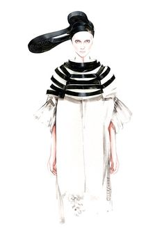 Junya Watanabe SS 2016 ⚫️⚪️ fashion illustration by António Soares People Illustration, Illustration Sketches, Fashion Illustrations, Fashion Fabric, Fashion Art, Fashion Models, Mode Collage, Fashion Sketchbook, Fashion Portfolio
