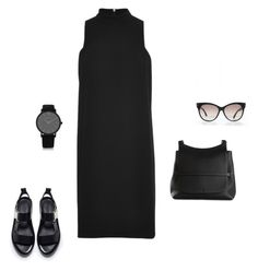 """All black chill"" by driasmode ❤ liked on Polyvore featuring Byredo, Zara, Rosetta Getty, The Row, Larsson & Jennings, Tom Ford, chic, simple, black and minimal"
