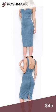 Blue Suede Dress Straps blue suede midi dress Dresses Midi