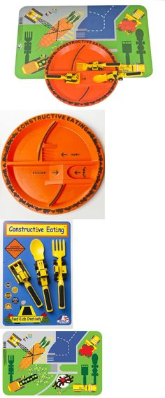 Feeding Sets 117386 Constructive Eating Plate 3 Pc Utensil Set And Placemat Great Teaching  sc 1 st  Pinterest & Feeding Sets 117386: Construction Utensil Set With Construction ...
