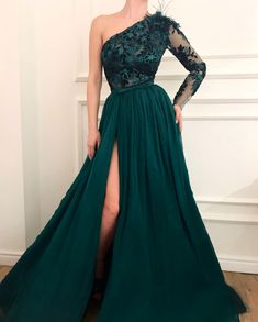 long prom dresses - Vestidos de festa One Shoulder Green Evening Dress Muslim Lebanon Dubai Chiffon Formal Party Gowns prom Dress Vestido de festa Split Prom Dresses, Prom Party Dresses, Party Gowns, Strapless Dress Formal, Dress Party, Dress Long, Occasion Dresses, Wedding Dresses, Homecoming Dresses
