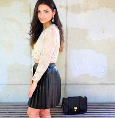 www.streetstylecity.blogspot.com Be inspired by the people in the street ! Lace on Leather!