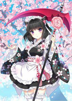 Cute. Kawii Neko maid Weapon scythe flower petals