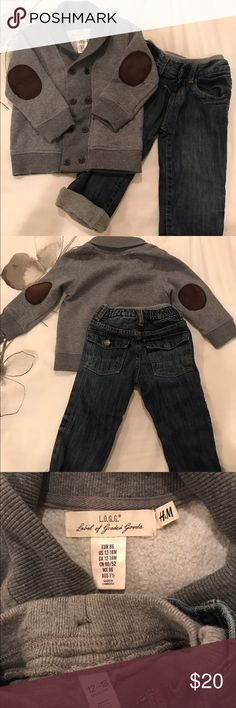 toddler boy outfit. Shawl collar sweater & jeans Your little one will look so handsome in this shawl collar sweater & jeans. The relaxed-fit jeans are lined to keep him extra warm in the winter. I rolled up the jeans in the picture to showcase the lining. The sweater is from H&M, jeans from BabyGap. Both are sized 12-18months. Great condition. If you would like to purchase the items separately, please leave a message and I will create a new listing for you. H&M Matching Sets