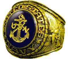 13501f14ff4 Gold Navy Ring w  Gold Logo Etched into Crystal