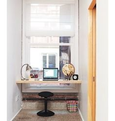 desk in dormer window for boys rooms...like the iron pipe for feet placement too.