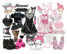 """""""Melody and Kuromi"""" by nekosnookiepoo ❤ liked on Polyvore featuring Hello Kitty, Naoto and NARS Cosmetics"""