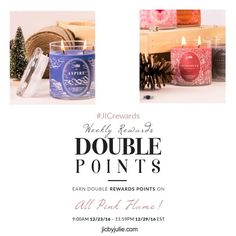 This week earn double reward points towards free jewelry on ALL Pink Flame candles & tarts!  jicbyjulie.com  #jicbyjulie #rewards #pinkflame