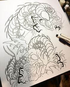 Centipede and skulls. Line drawing for the half sleeve. #tattoo #flash #tattooflash #draw #drawing #sketch #roughsketch #illustration #design #japanesetattoo #japanesestyle #japanesestyletattoo #centipede #skull #刺青 #タトゥー #下絵 #イラスト #デザイン #ムカデ #百足 #スカル #骸骨 #秋田