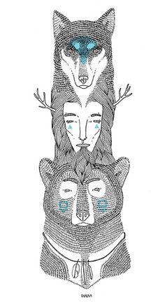 wolf human bear totem by ooli