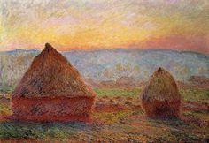 Les Meules à Giverny, soleil couchant (C Monet - W 1213),1889.