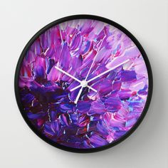 Buy LOTUS BLOSSUM - Beautiful Purple Floral Abstract, Modern Decor in Eggplant Plum Lavender Lilac by EbiEmporium as a high quality Wall Clock. Worldwide…
