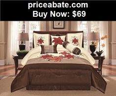 Bedding: 7 Piece Brown Beige White Floral Comforter Set Queen size Bedding - BUY IT NOW ONLY $69