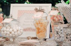 Bridal Shower candy table and dessert favors - pale pink, white, silver