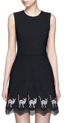 Black Cat Embroidered Scalloped Hem A-Line Dress