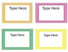 Editable Chevron Labels Size about 3x5Use these chevron labels for manipulatives, labeling books, name tags, whatever you fancy!
