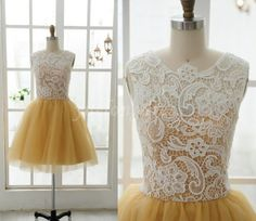 Yellow Sweet Aline  KneeLength Lace Bridal van Yuelongdress op Etsy, $85.00