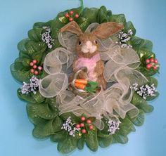 Spring Bunny Green Deco Mesh Wreath