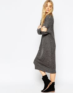 ASOS Midi Dress In Mohair With V-Neck