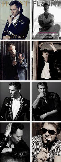Tom Hiddleston & Chris Hemsworth. I'm sorry folks but for me my loyalty lies with LOKI. I love him haha