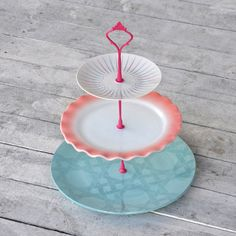 Pop Pastry Stand. Free overnight shipping from Fab.com. Vintage china cake stand, Pyrex milk glass. Pastel colors: aqua, pink, lilac.