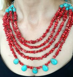coral coral necklacekorallenkette turquoise turquoise