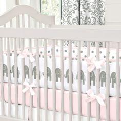 Pink and Gray Elephants Crib Bumper #carouseldesigns