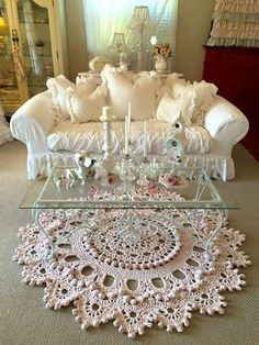 How perfect is this for a Grandma's house...a rug that looks like a crocheted doily