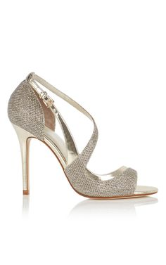 GLITTER FABRIC OPEN PEEP TOE SANDAL | Luxury Women's footwear | Karen Millen