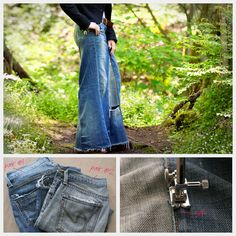 "Denim Maxi Skirt ~ could also do this with other pants, but probably best with heavy ones, such as corduroy… SO many ways to do the insert, & to decorate!! or for a ""mini skirt"", could either use heavy/thick shorts…or cut down the jean pants!"