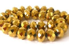 10 gold faceted crystal glass beads, 12mm shimmery rondelles $3.90