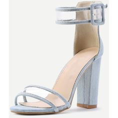 Clear Strap Block Heeled Sandals (2.735 RUB) ❤ liked on Polyvore featuring shoes, sandals, monk-strap shoes, strap sandals, strappy shoes, block heel shoes and clear sandals
