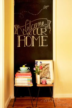 love the chalk board, might paint on the words though, don't need chalk dust