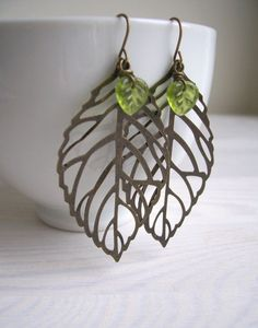 Garden Days leaf earrings  gold filigree and by themagpiesdaughter, $14.00